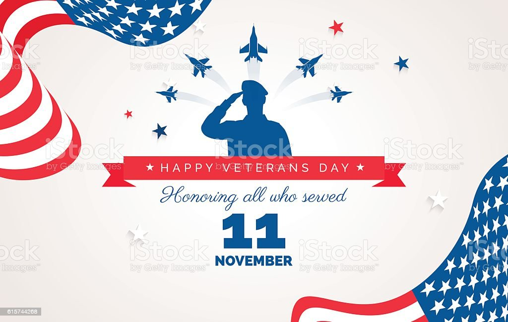 Happy Veteran Day flyer, banner or poster vector art illustration