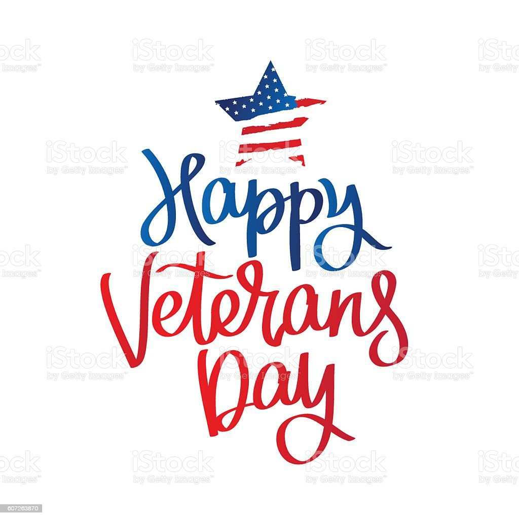Veterans day clip art - Happy Veterans Day Calligraphy Royalty Free Stock Vector Art