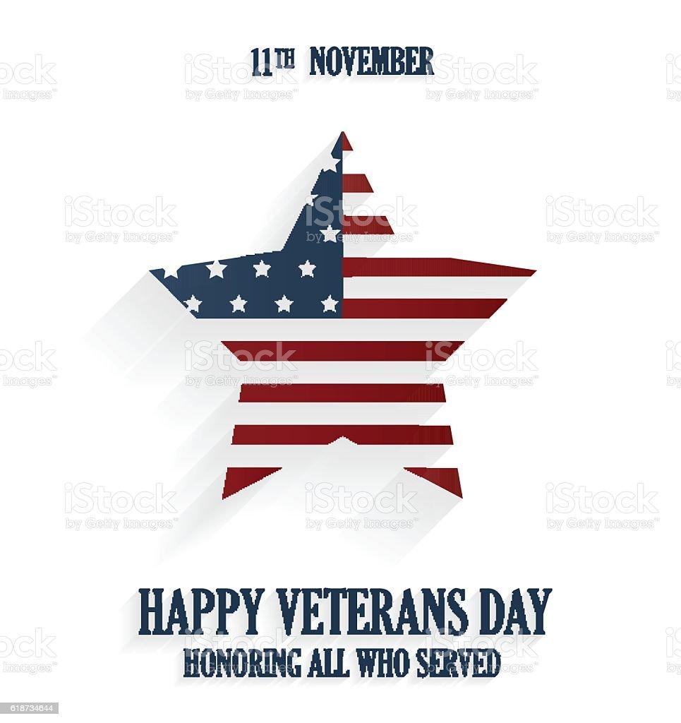 Happy Veterans day poster on white background vector art illustration