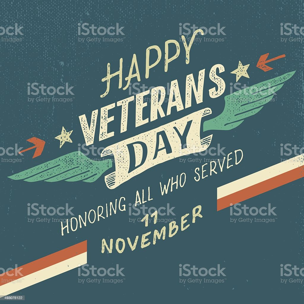 Happy Veterans day typographic design vector art illustration