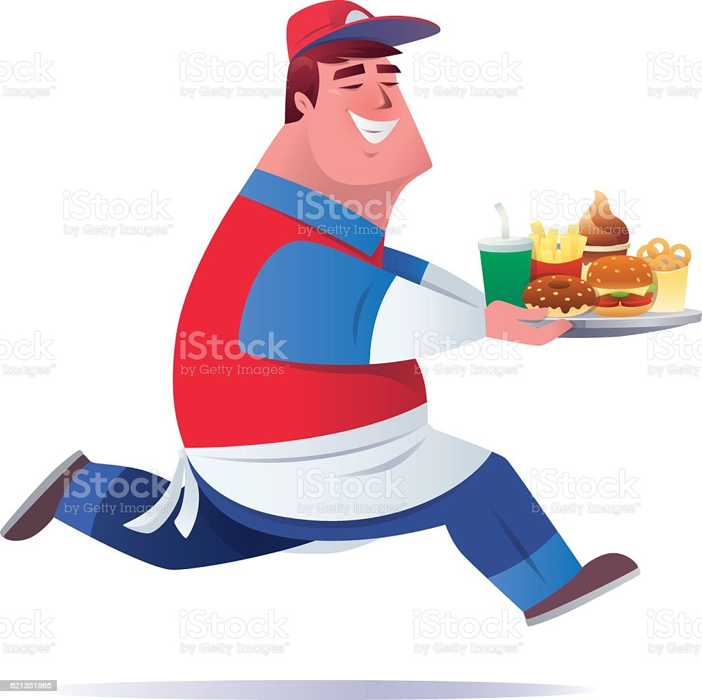 happy waiter delivering platter of fast food vector art illustration