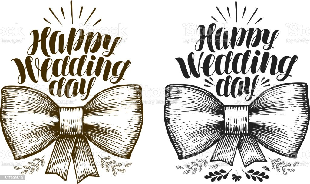 Happy Wedding day, label. Marriage, wed banner. Lettering, calligraphy vector illustration vector art illustration