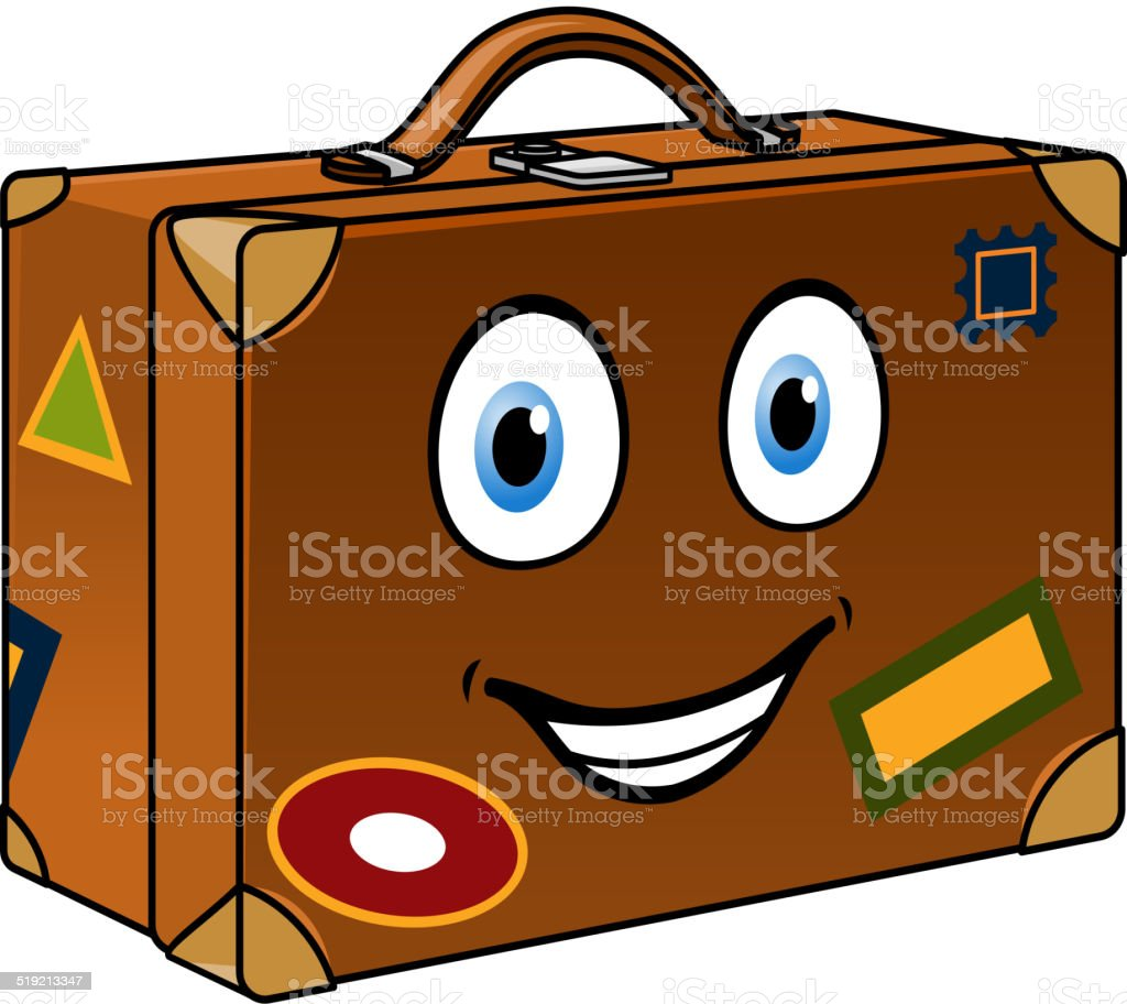 Happy well travelled cartoon suitcase vector art illustration
