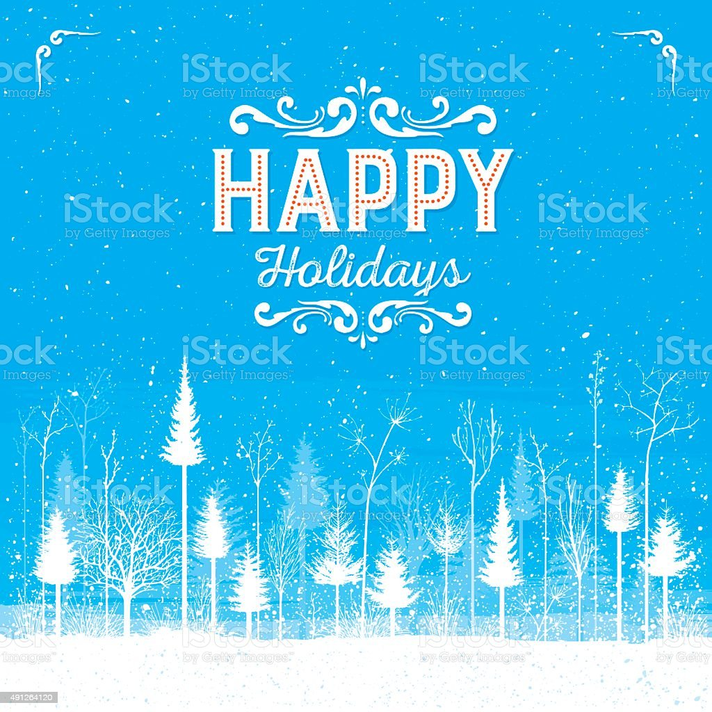 Happy Winter Forest vector art illustration