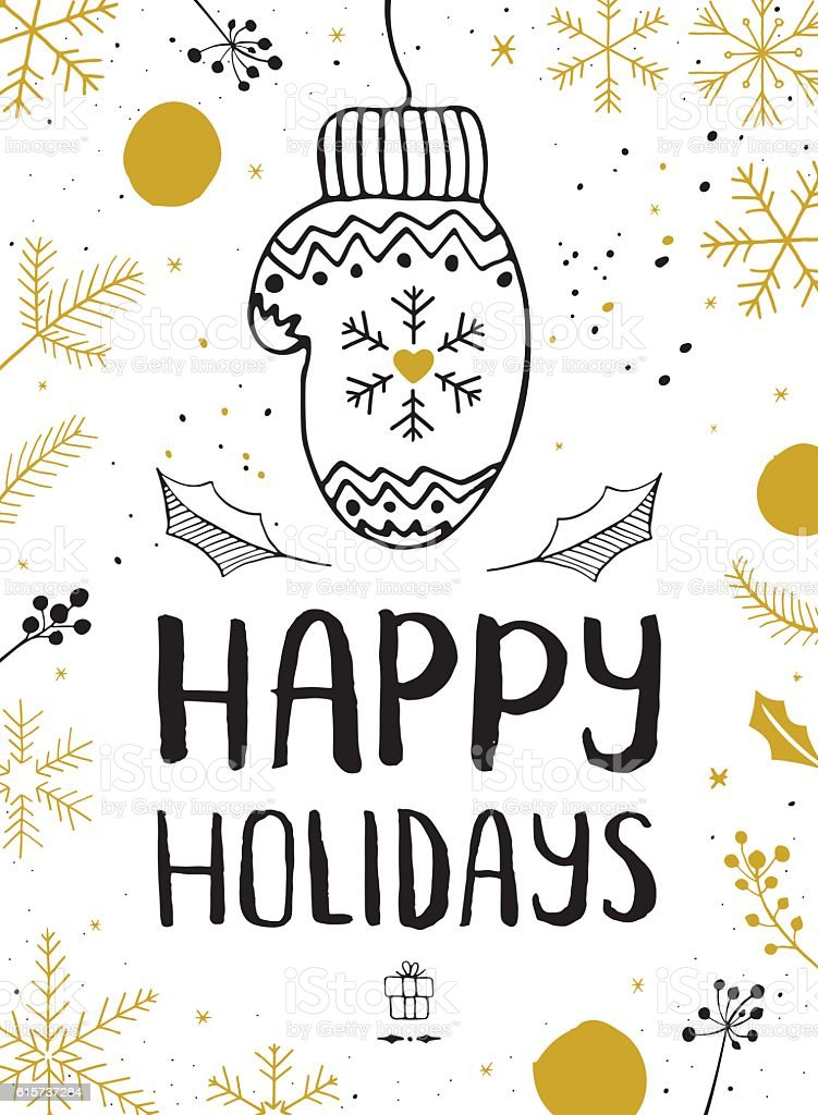 Happy winter holidays mitten vector art illustration