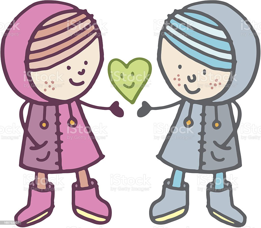 Happy winter kids royalty-free stock vector art