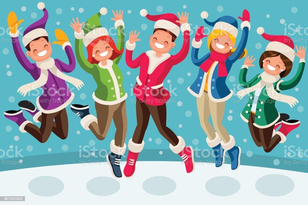 Happy Winter Vector Cartoon People Family Jump for vector art illustration