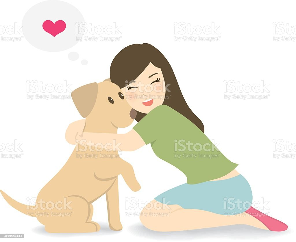 Happy woman crouching down, hugging dog vector art illustration