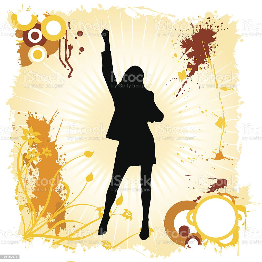 happy woman dancing royalty-free stock vector art