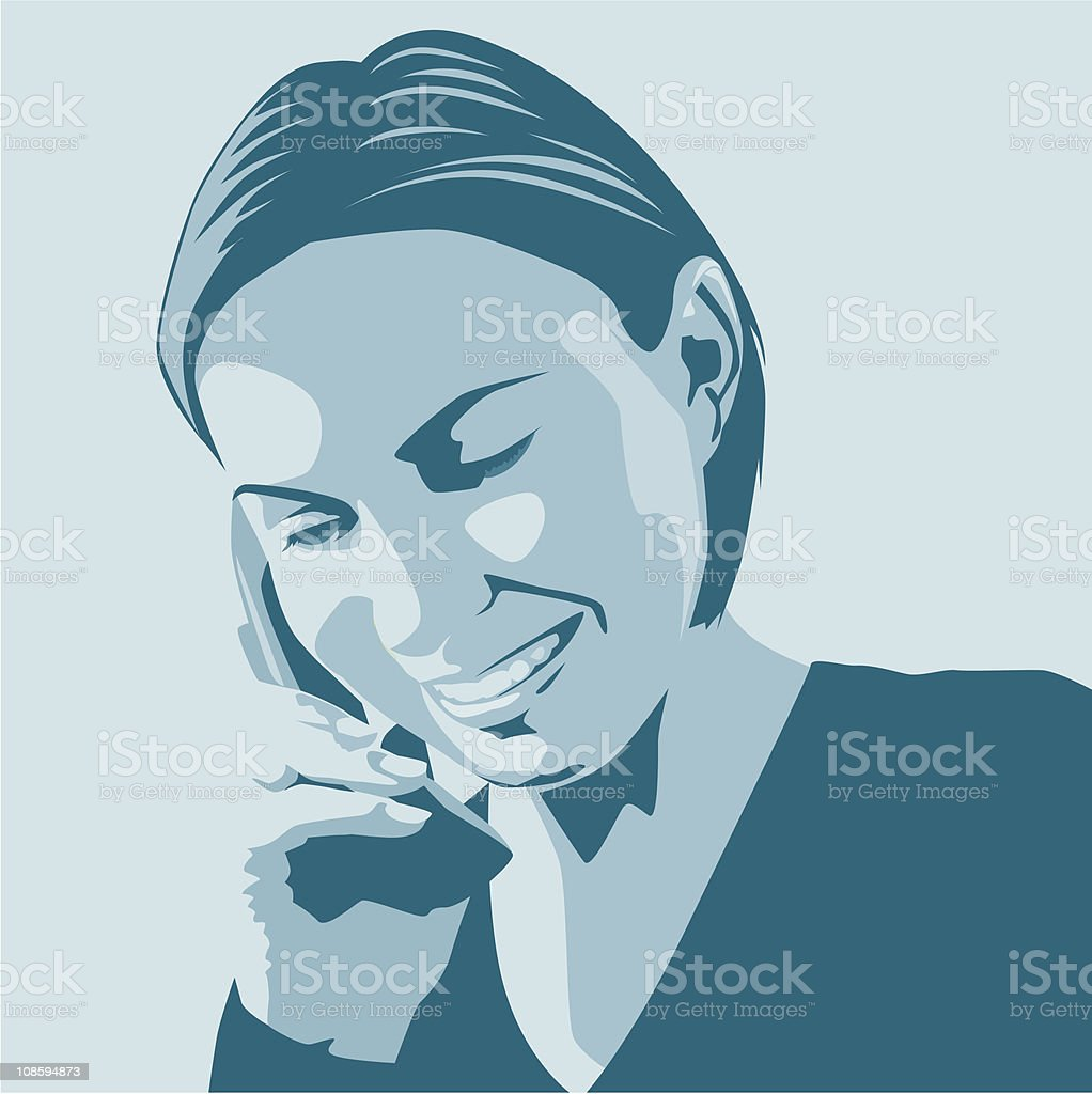 Happy Woman on the Phone royalty-free stock vector art