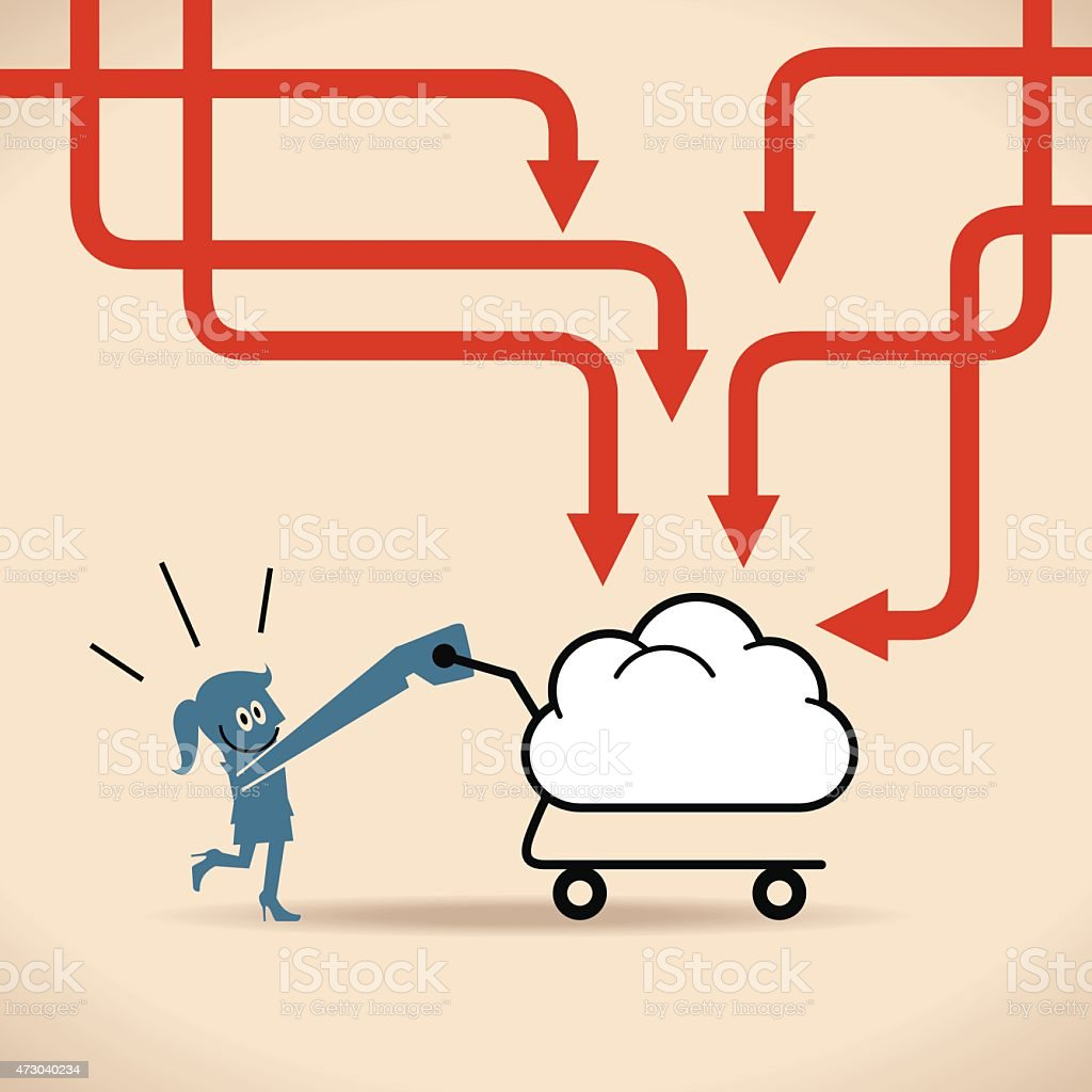 Happy woman (Businesswoman) pushing a cloud shaped shopping cart vector art illustration