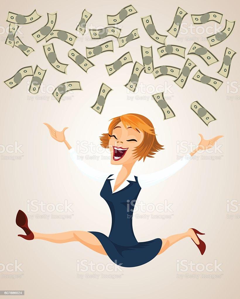Happy woman throw money. vector art illustration