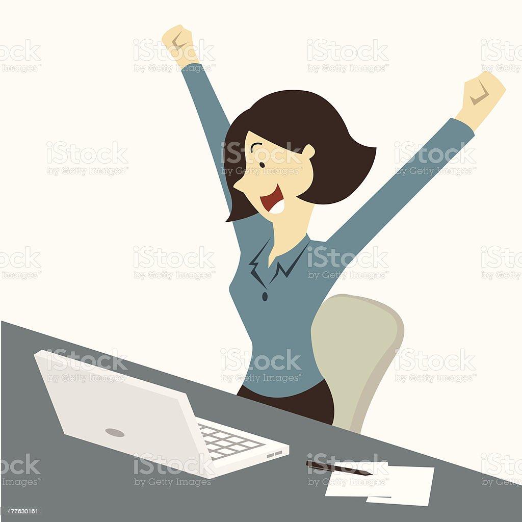 Happy woman vector art illustration