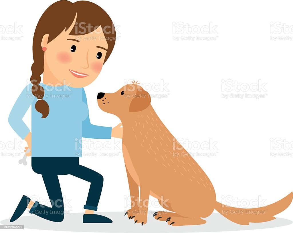 Happy woman with dog vector art illustration