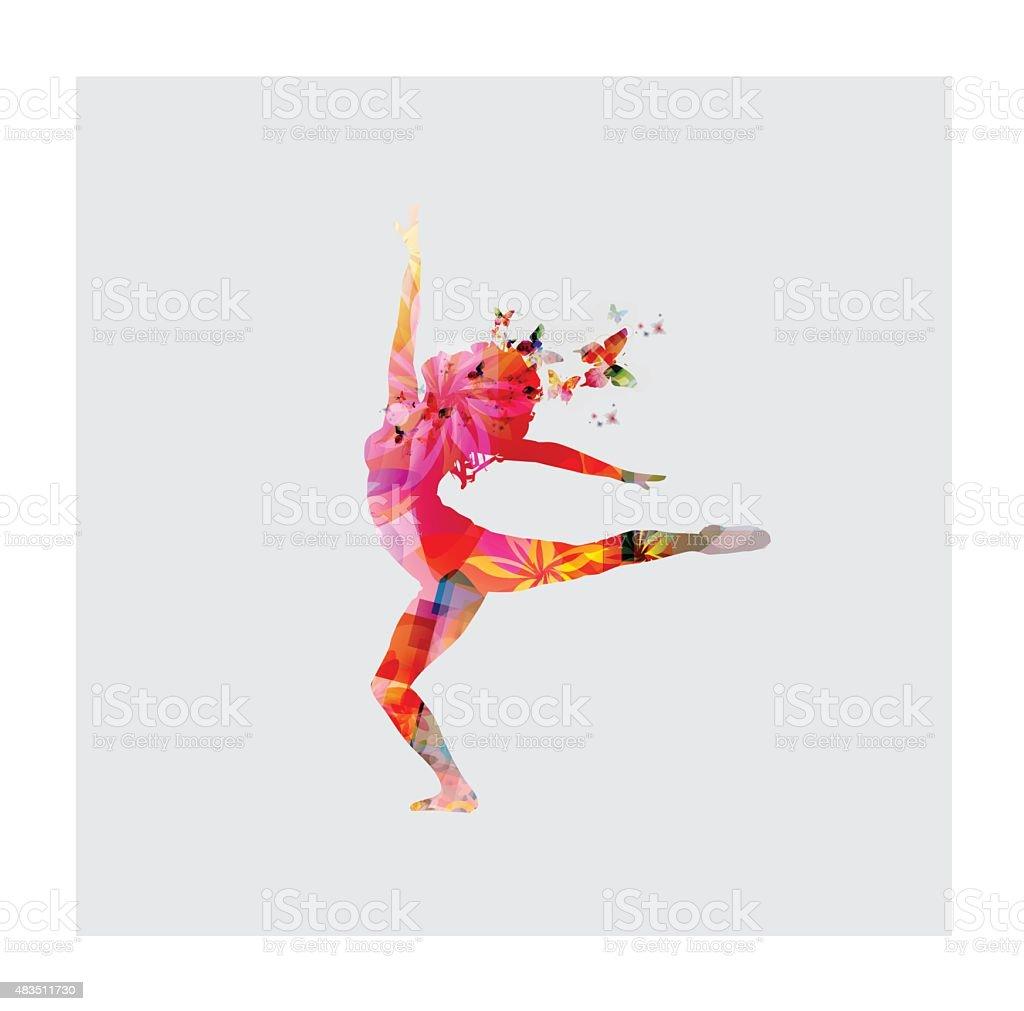 Happy women dancing vector art illustration
