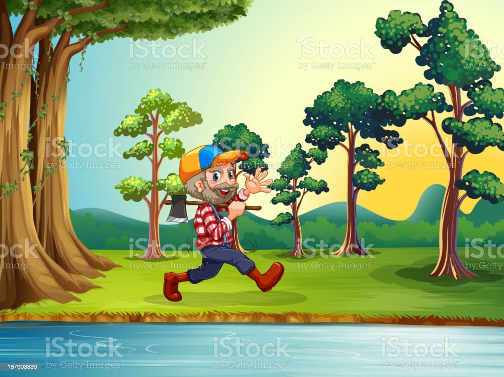 happy woodman walking at the riverbank royalty-free stock vector art