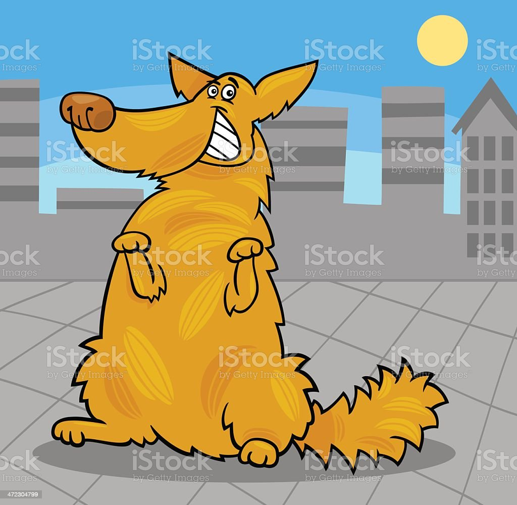 happy yellow shaggy standing dog royalty-free stock vector art