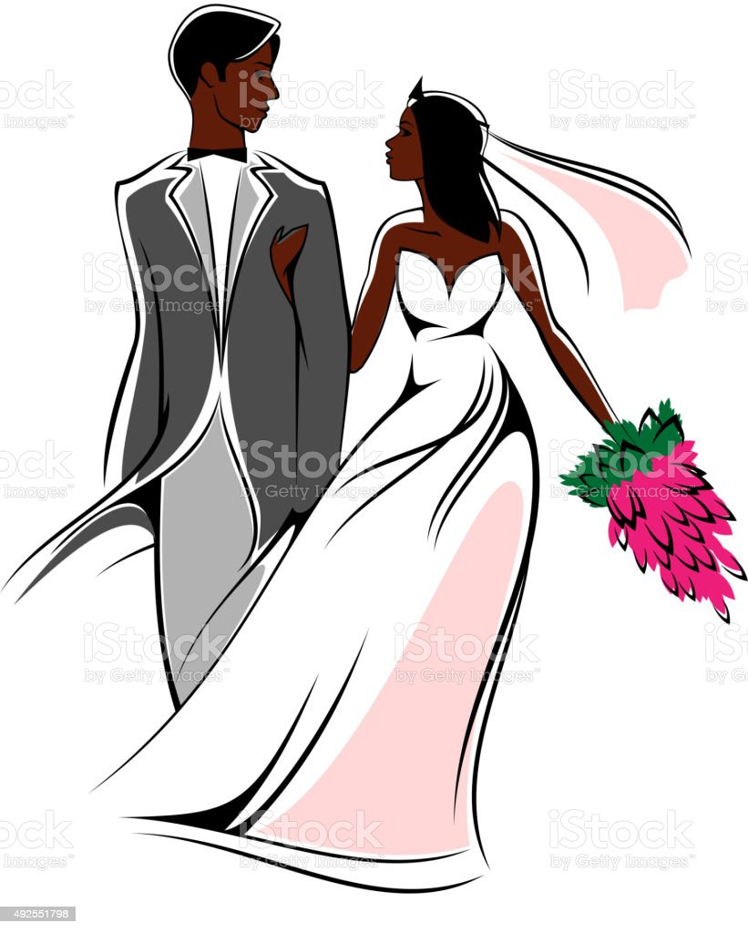 Happy young african bride and groom with flowers vector art illustration
