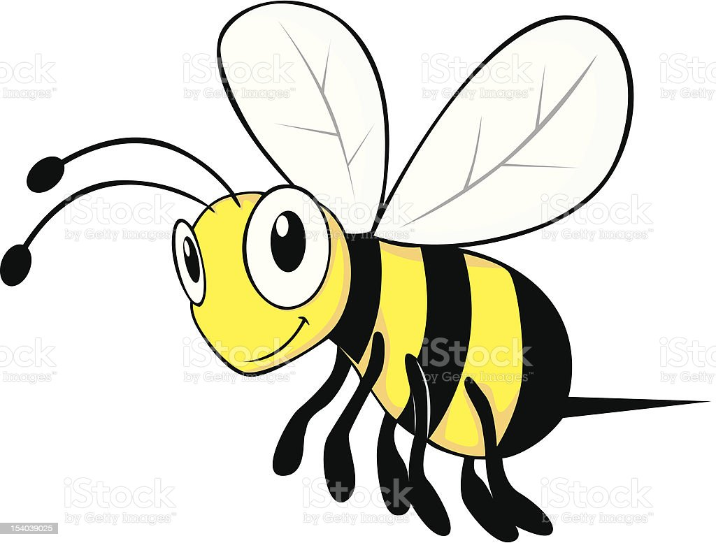 Happy Young Bee Flying vector art illustration