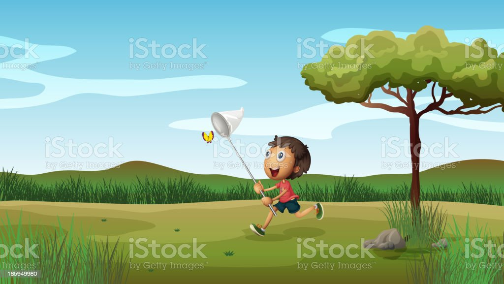 happy young boy catching butterflies royalty-free stock vector art