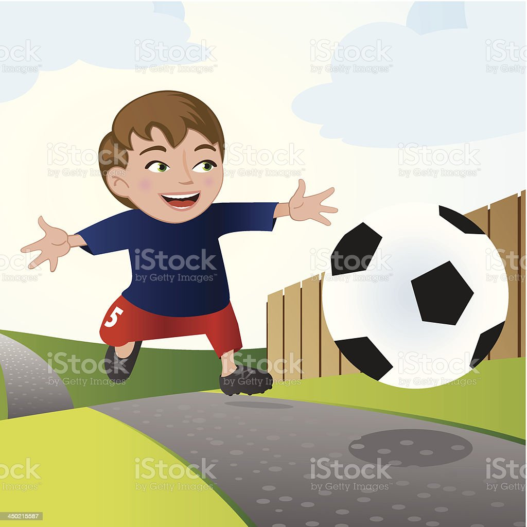 happy young boy play soccer royalty-free stock vector art