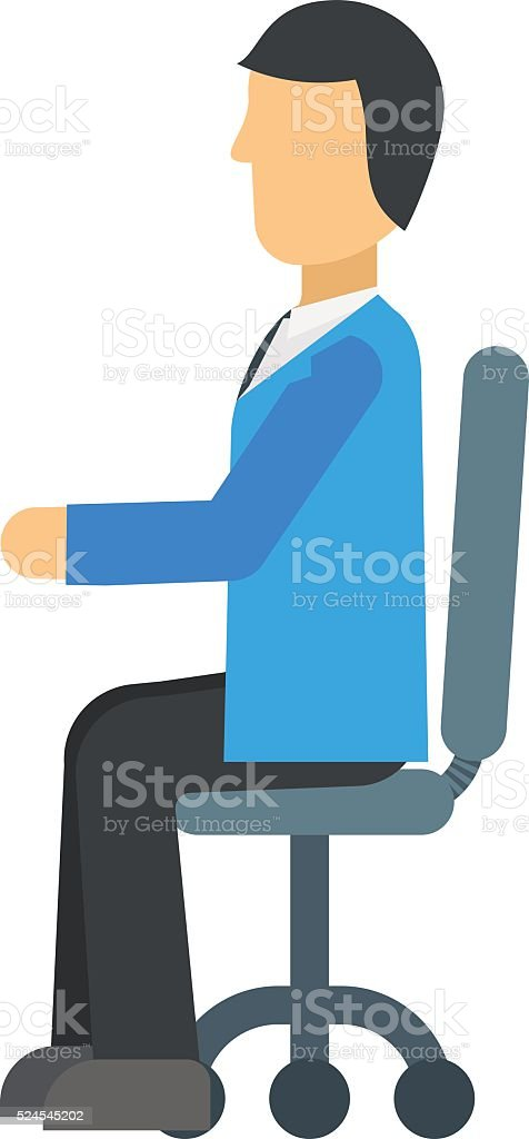 Happy young business man work in modern office on chair vector art illustration