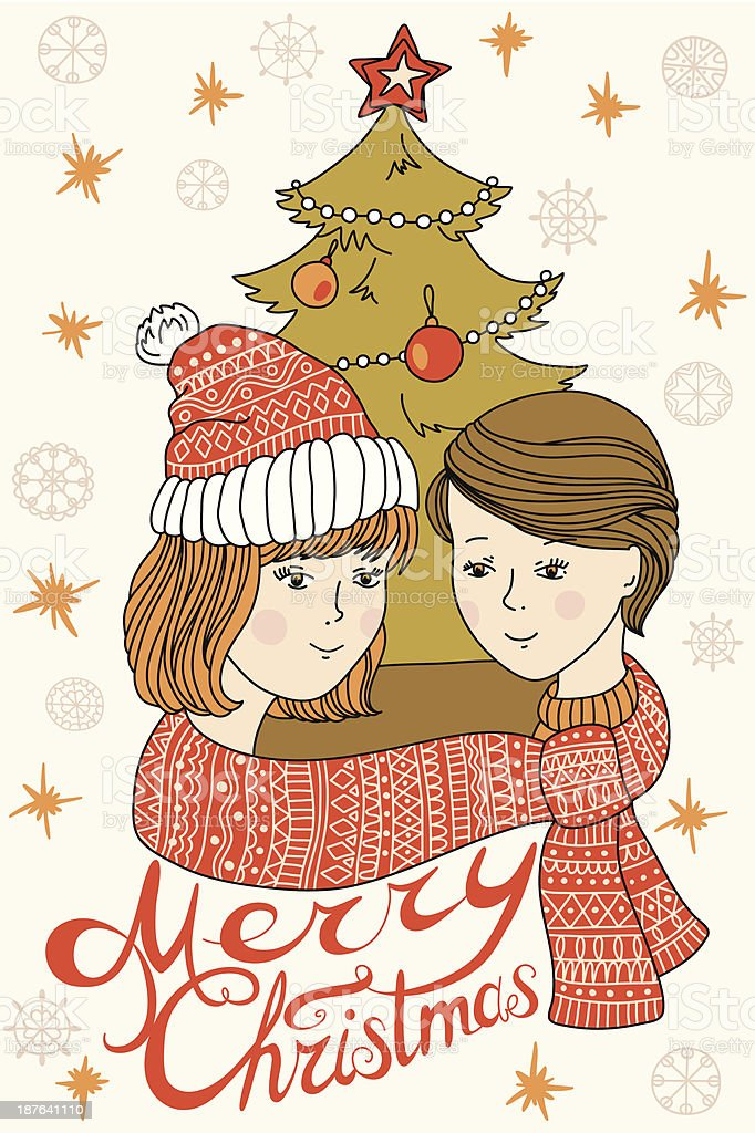 Happy young couple in winter royalty-free stock vector art