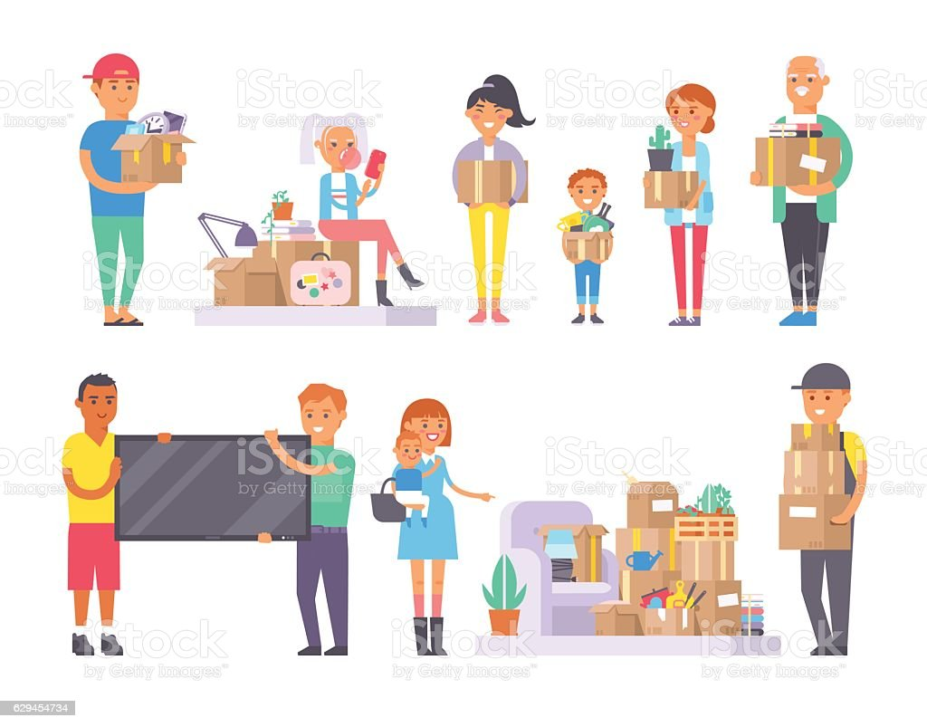Happy young couple moving in new house vector art illustration