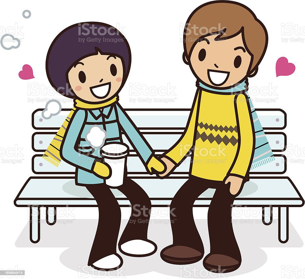 Happy young couple sitting on bench royalty-free stock vector art