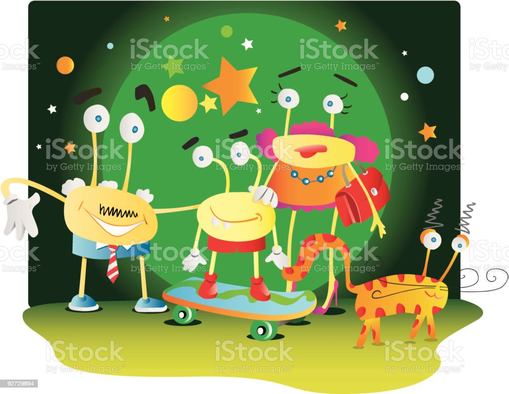Happy young family and their cat royalty-free stock vector art