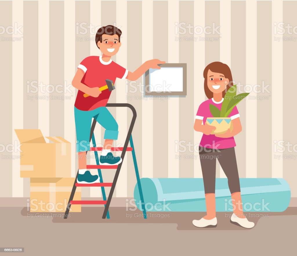 Happy Young Family Man And Woman Moving To A New Home. Concept Design  Repair And