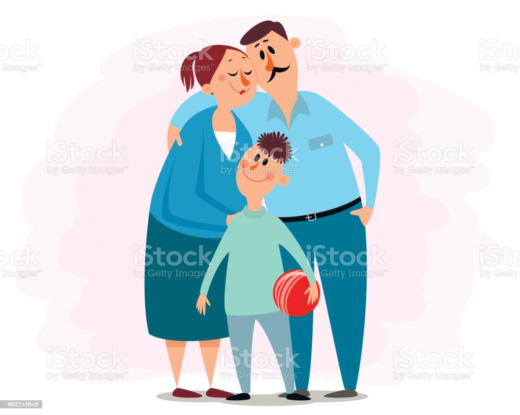 Happy young family vector art illustration