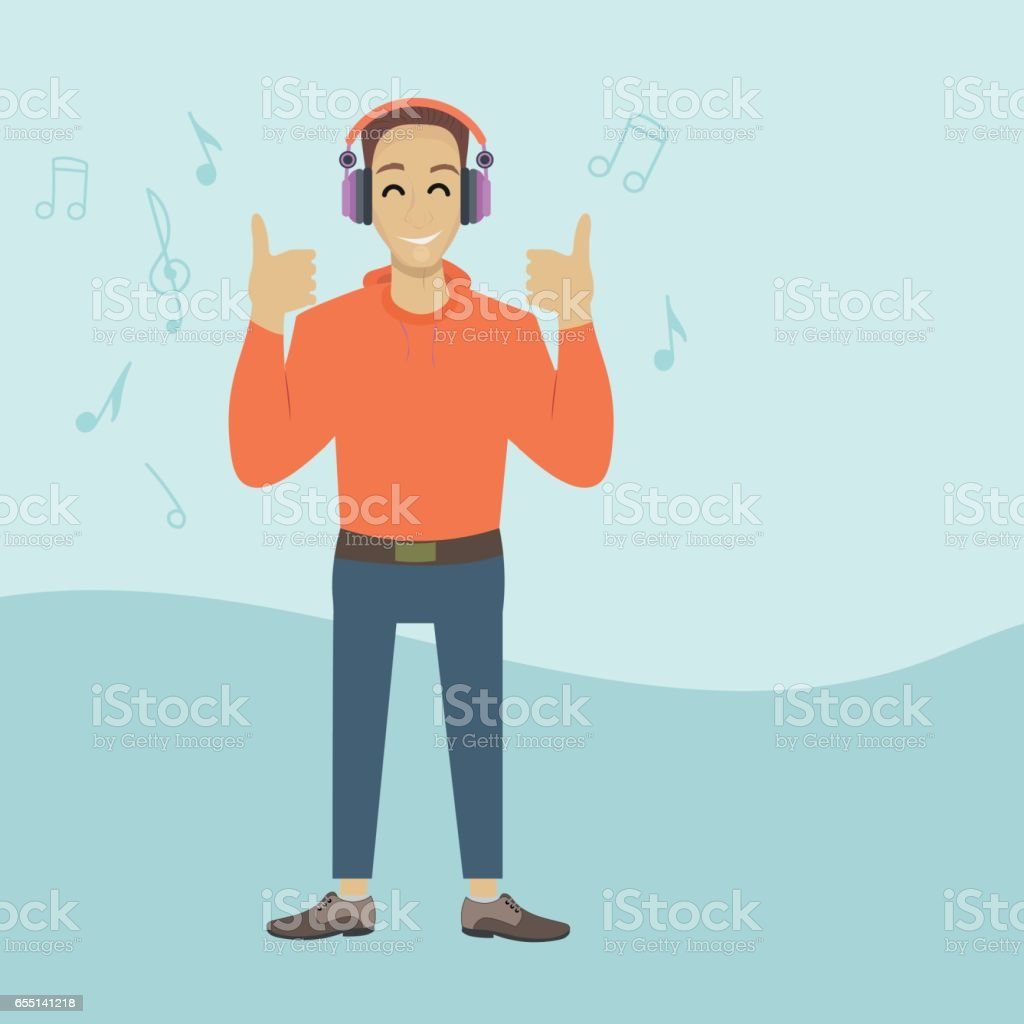 Happy young man listening to music with headphones vector art illustration