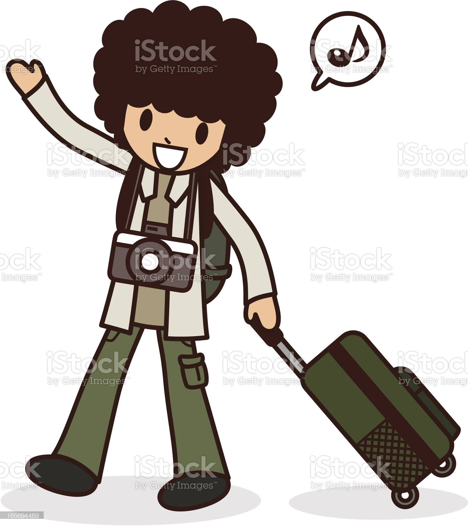 Happy young men go to travel royalty-free stock vector art