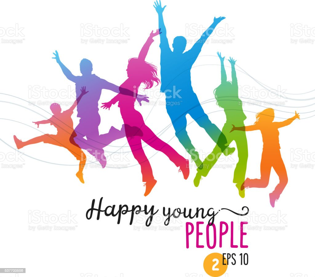 happy young people jumping for joy stock vector art