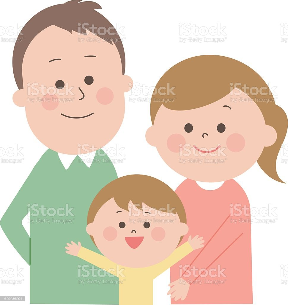 happy bright family together vector art illustration