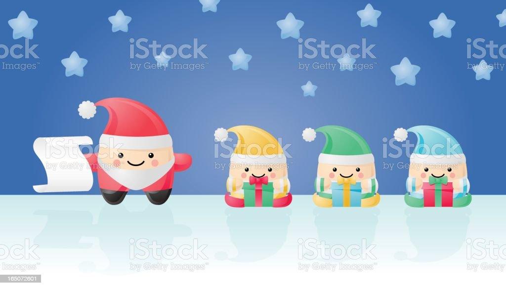 happyland: santa and his helpers vector art illustration
