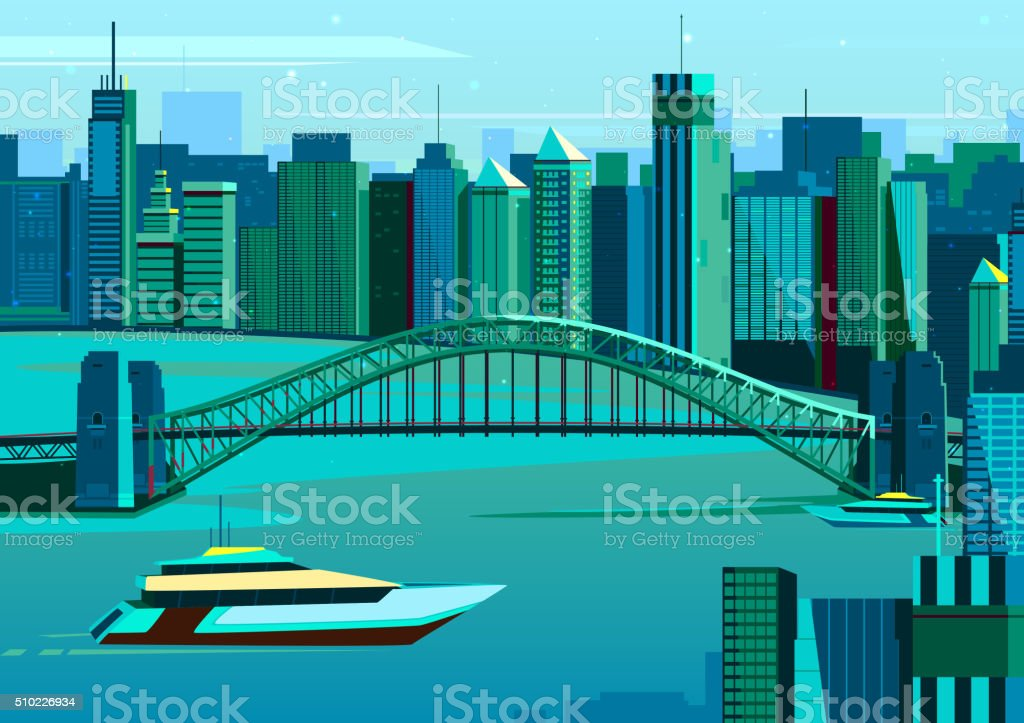 Harbor bridge in Sydney, Australia vector art illustration