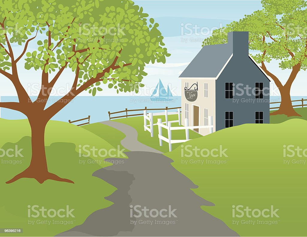 Harbor Inn vector art illustration