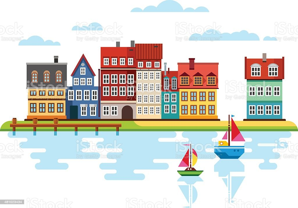 Harbor Waterfront with Boats on River vector art illustration