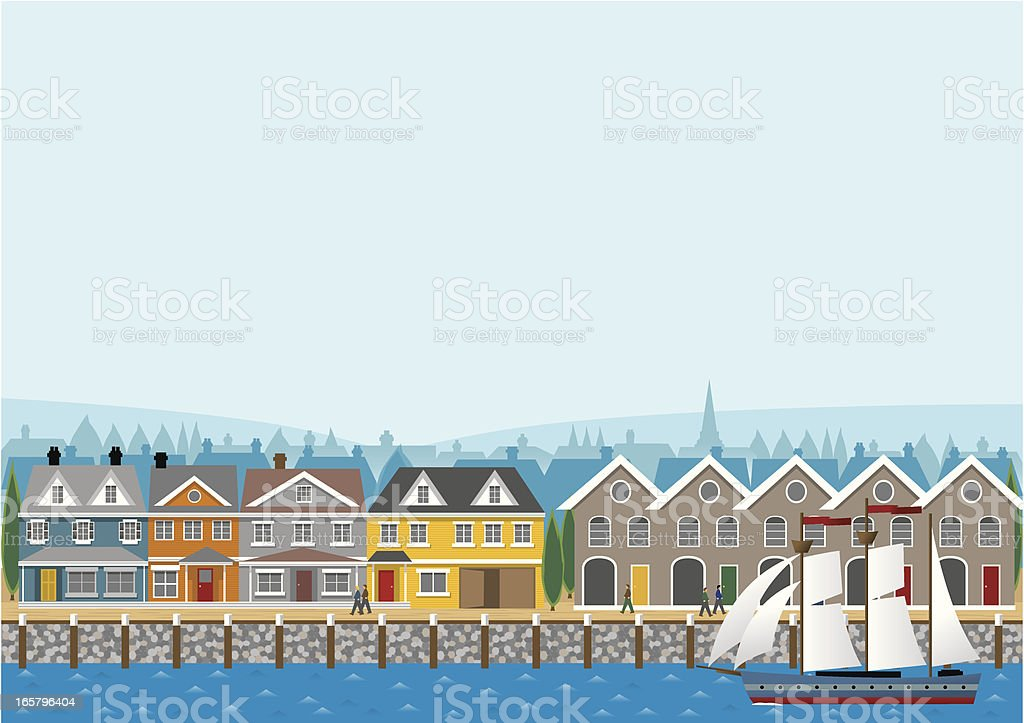 Harborside Banner vector art illustration