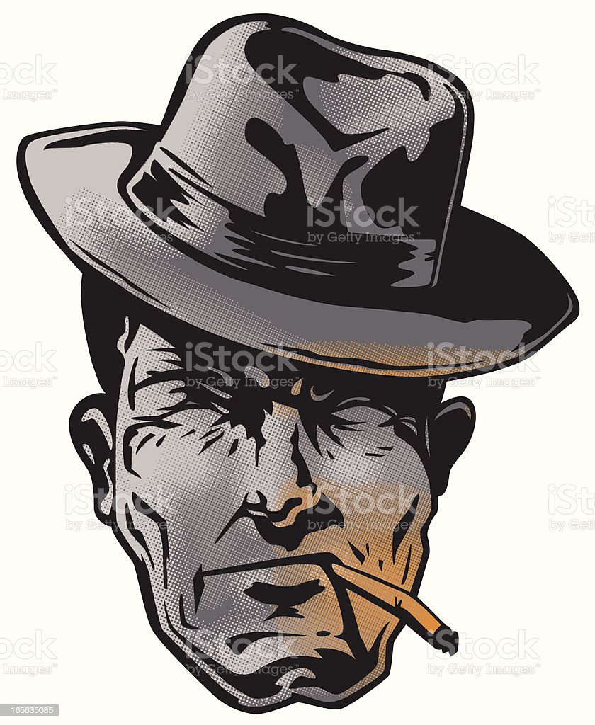 hard boiled detective 50's style vector art illustration