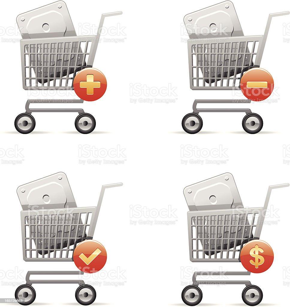 Hard disc in shopping cart royalty-free stock vector art