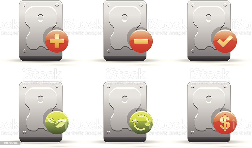 Hard disc with symbols royalty-free stock vector art