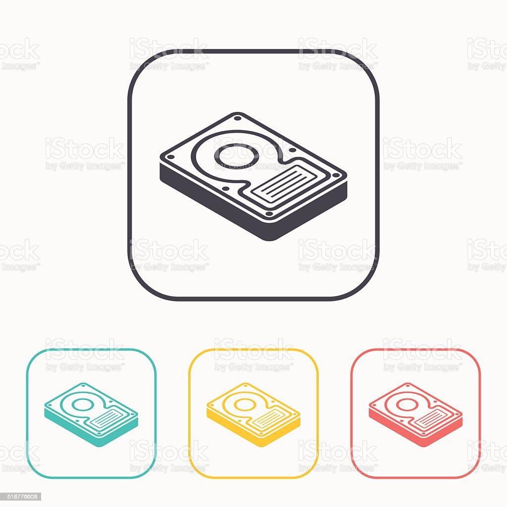 hard disk drive storage isometric 3d color icon set vector art illustration