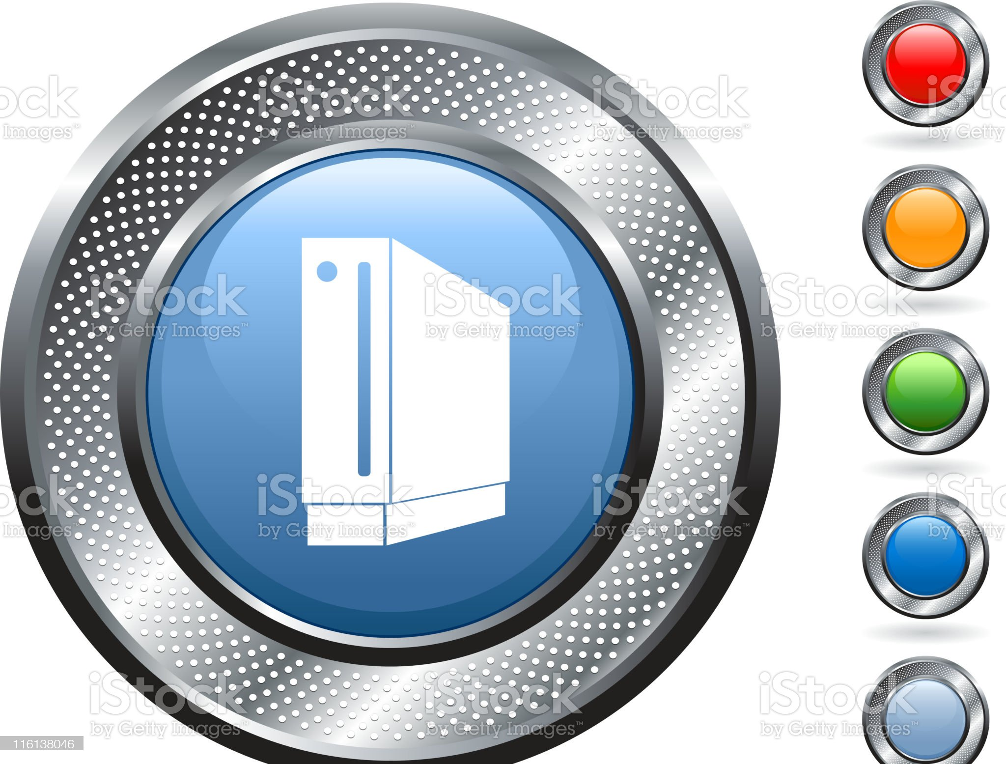 hard drive, disk royalty free vector art on metallic button royalty-free stock vector art