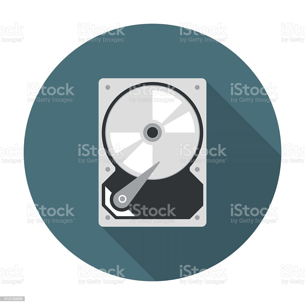 Hard drive icon flat vector art illustration
