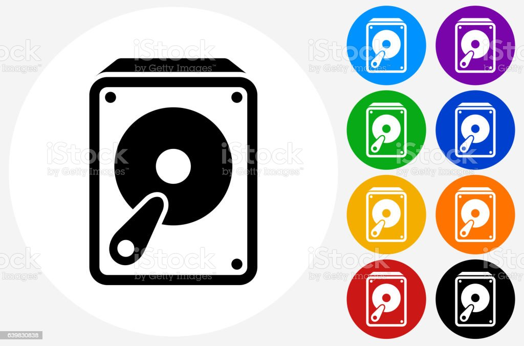 Hard Drive Icon on Flat Color Circle Buttons vector art illustration