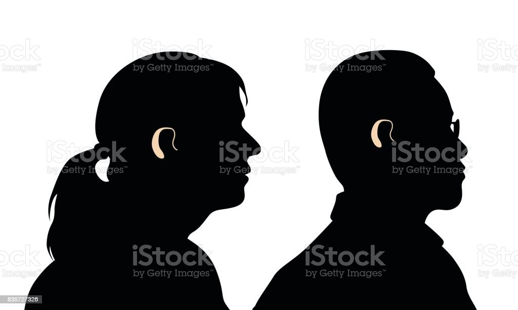 Hard Time Hearing vector art illustration