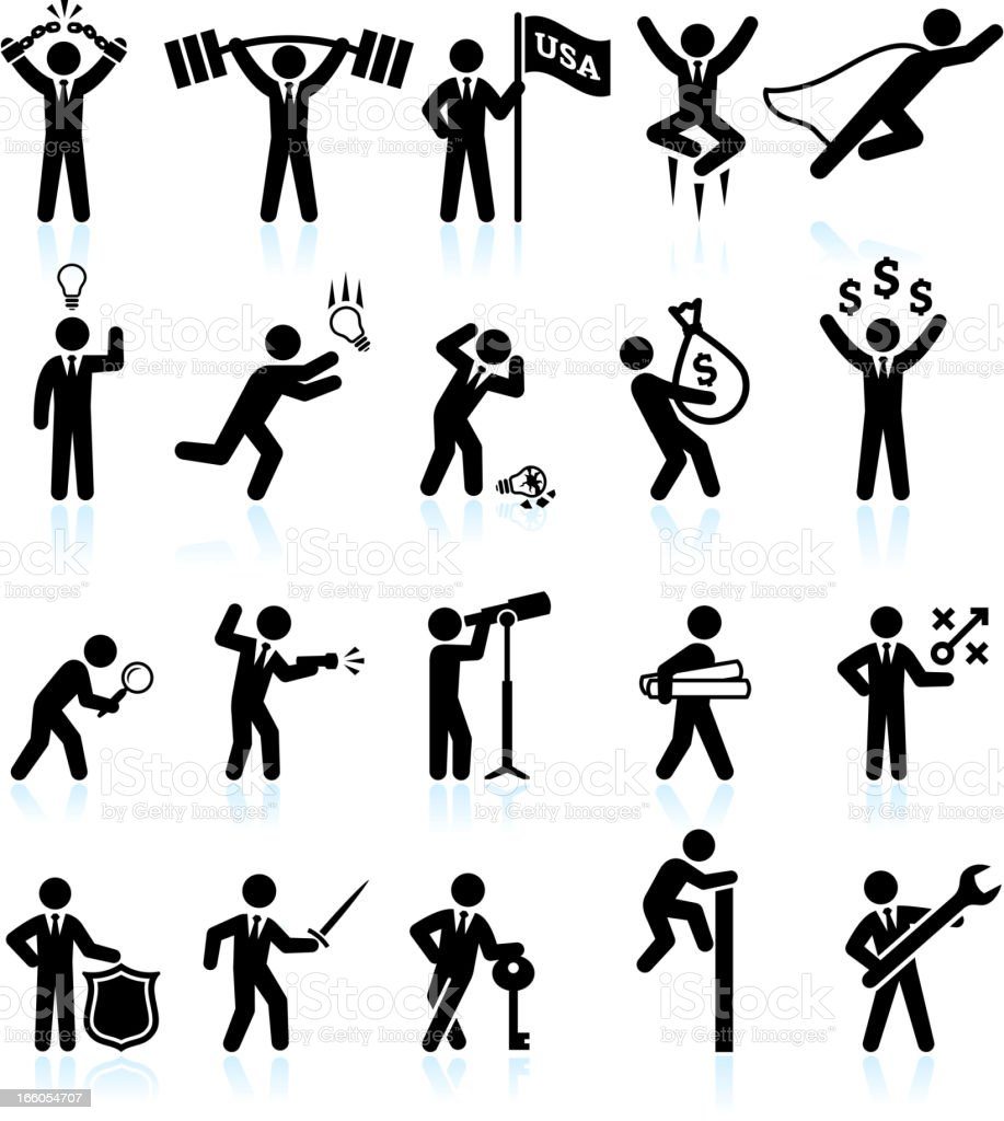 Hard Work Office Politics and Businessman black & white icons vector art illustration